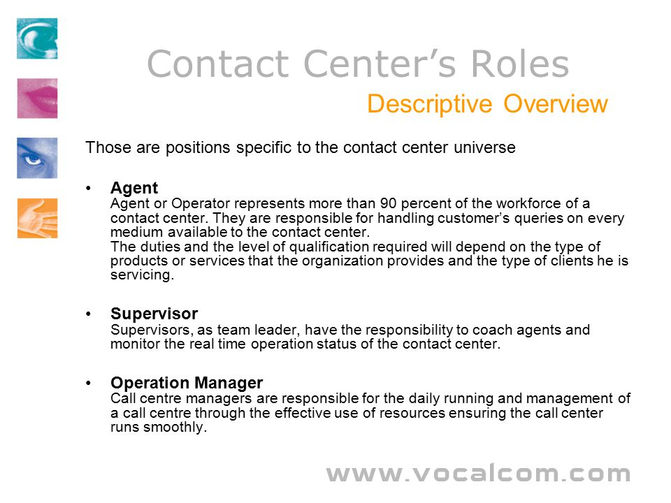 contact centers roles - Call Center Duties