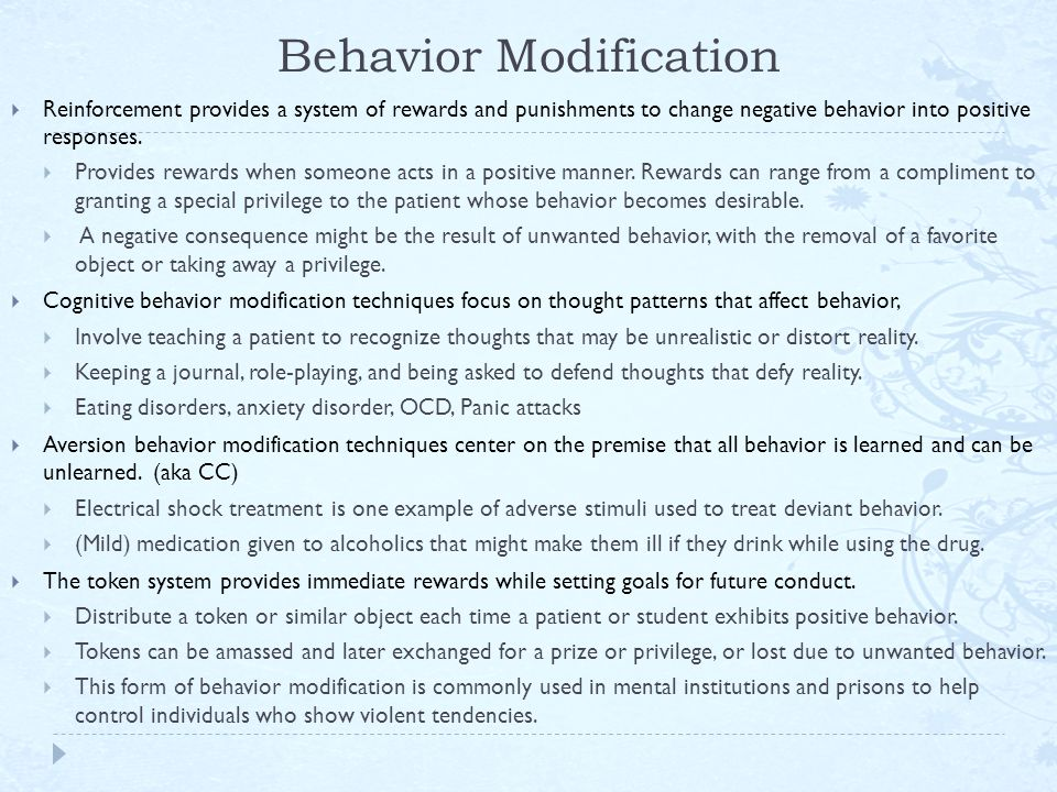 the positive changes in communication and behavior patterns of individuals as a consequence of this  Start studying learning and behavior: final  individual's behavior changes as a result of the contingency between his or her behavior and the consequence.