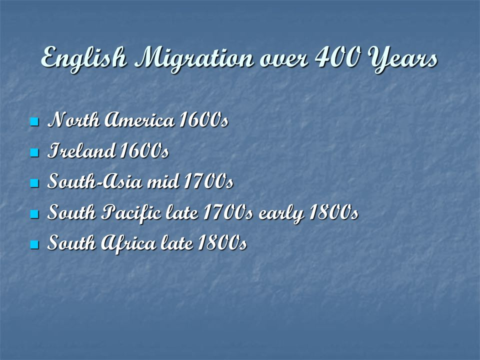 English Migration over 400 Years
