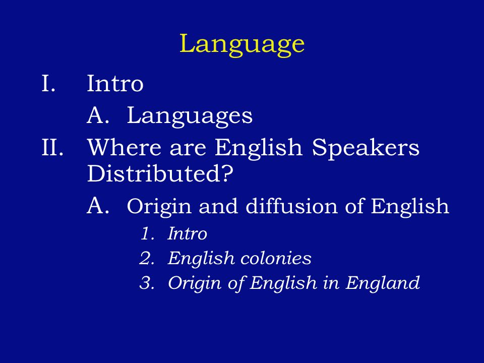 Language Intro A. Languages Where are English Speakers Distributed