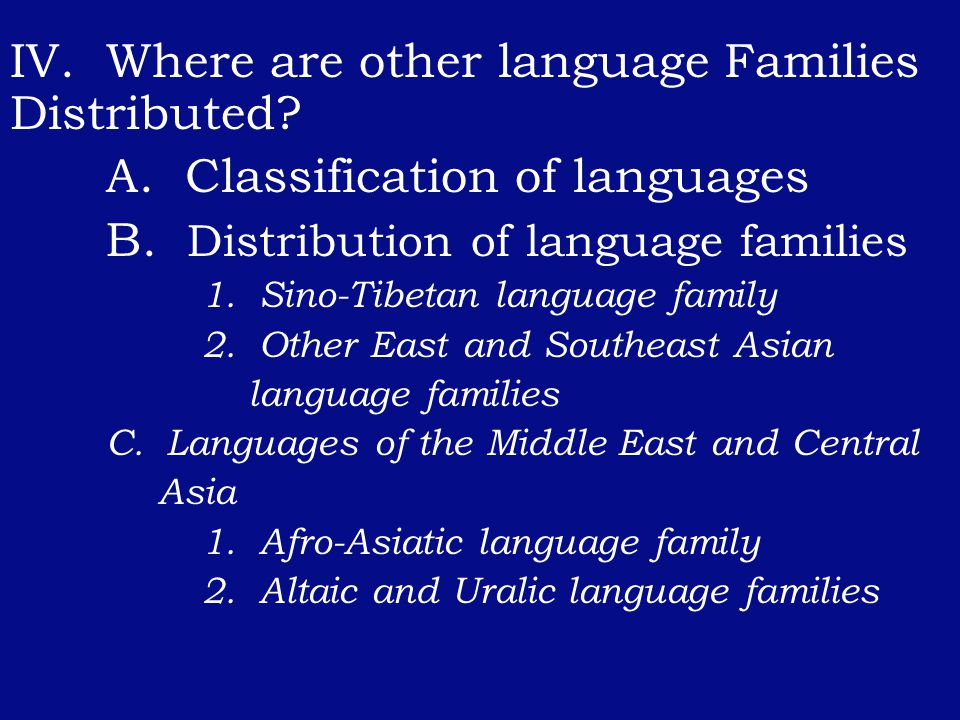IV. Where are other language Families Distributed