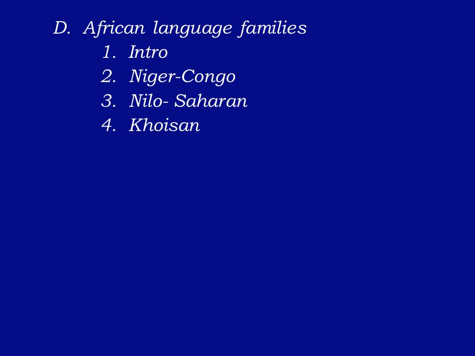 D. African language families