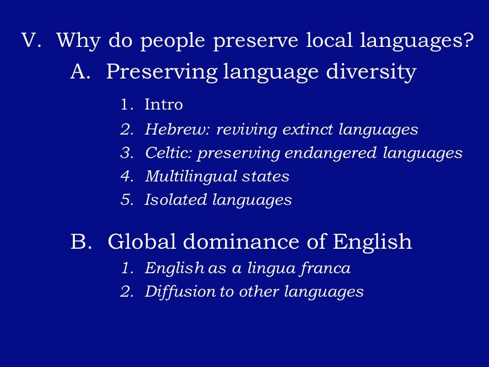 A. Preserving language diversity 1. Intro