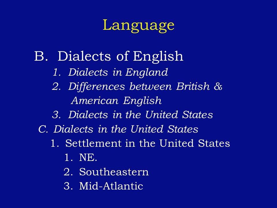 Language B. Dialects of English 1. Dialects in England