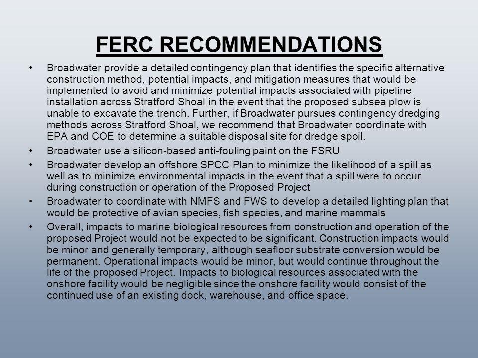FERC RECOMMENDATIONS