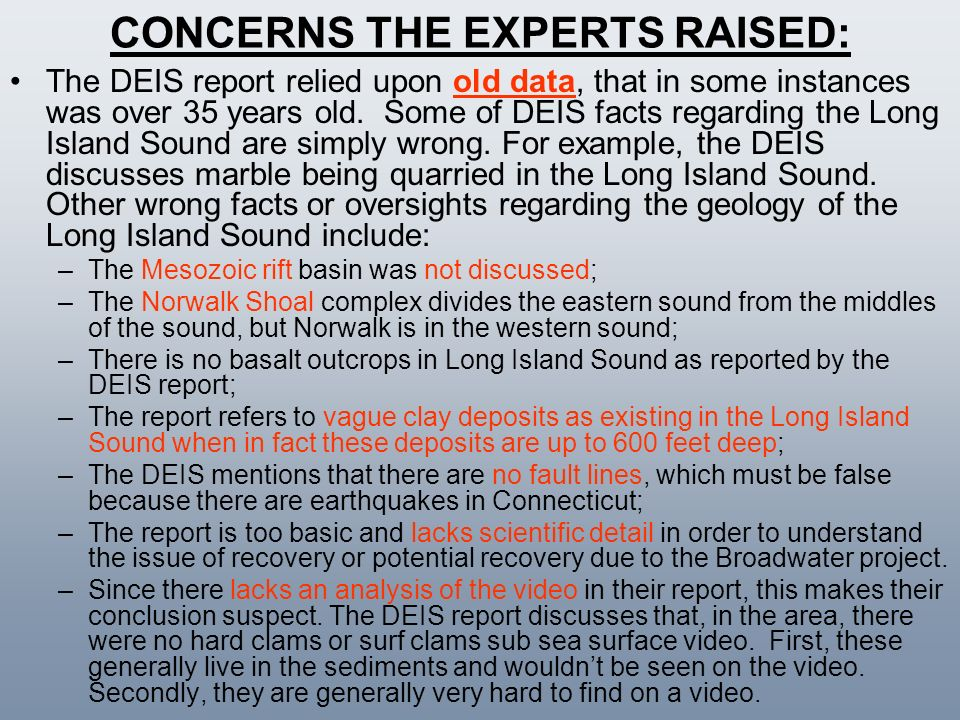 CONCERNS THE EXPERTS RAISED: