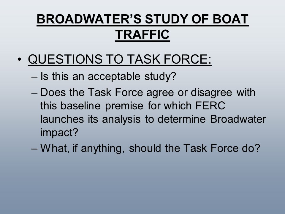 BROADWATER'S STUDY OF BOAT TRAFFIC