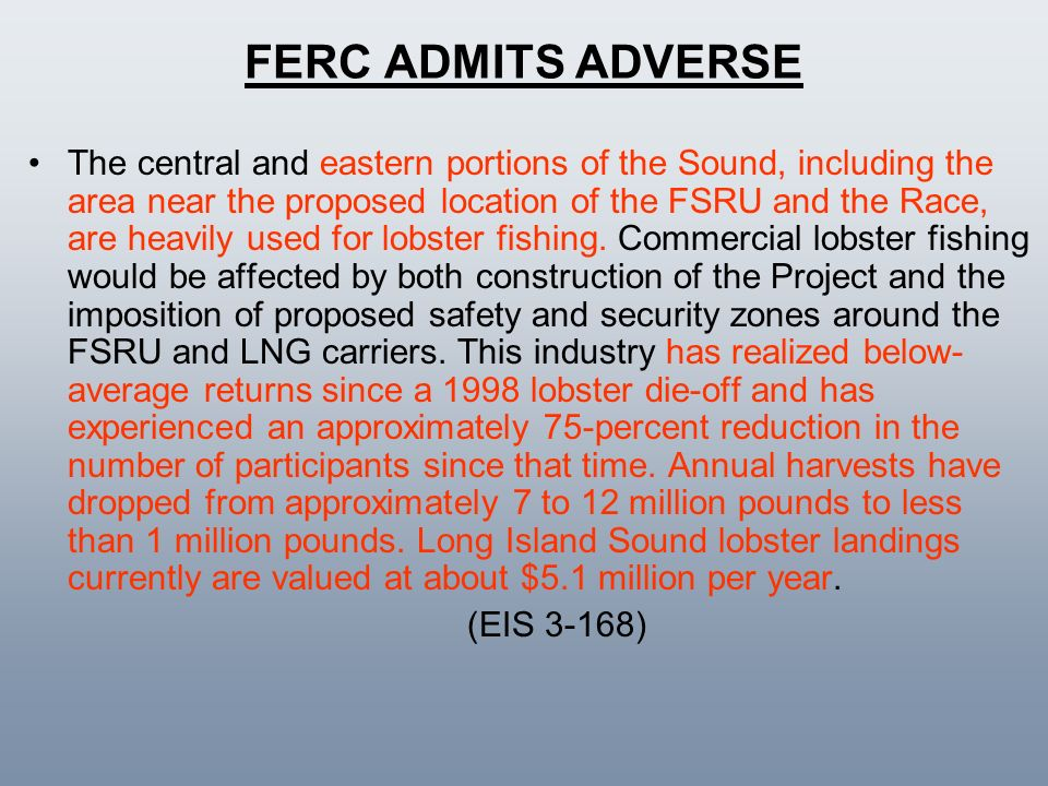 FERC ADMITS ADVERSE