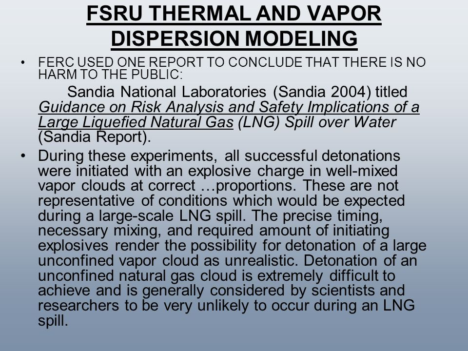 FSRU THERMAL AND VAPOR DISPERSION MODELING