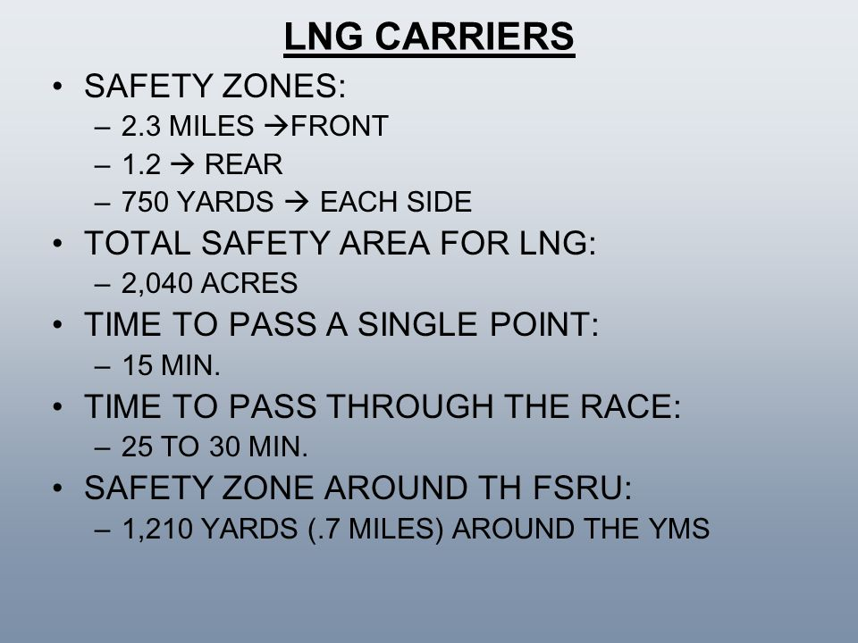 LNG CARRIERS SAFETY ZONES: TOTAL SAFETY AREA FOR LNG: