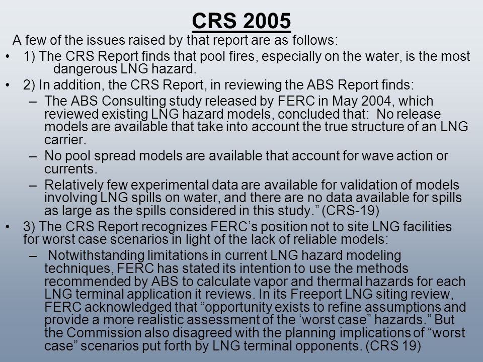 CRS 2005 A few of the issues raised by that report are as follows:
