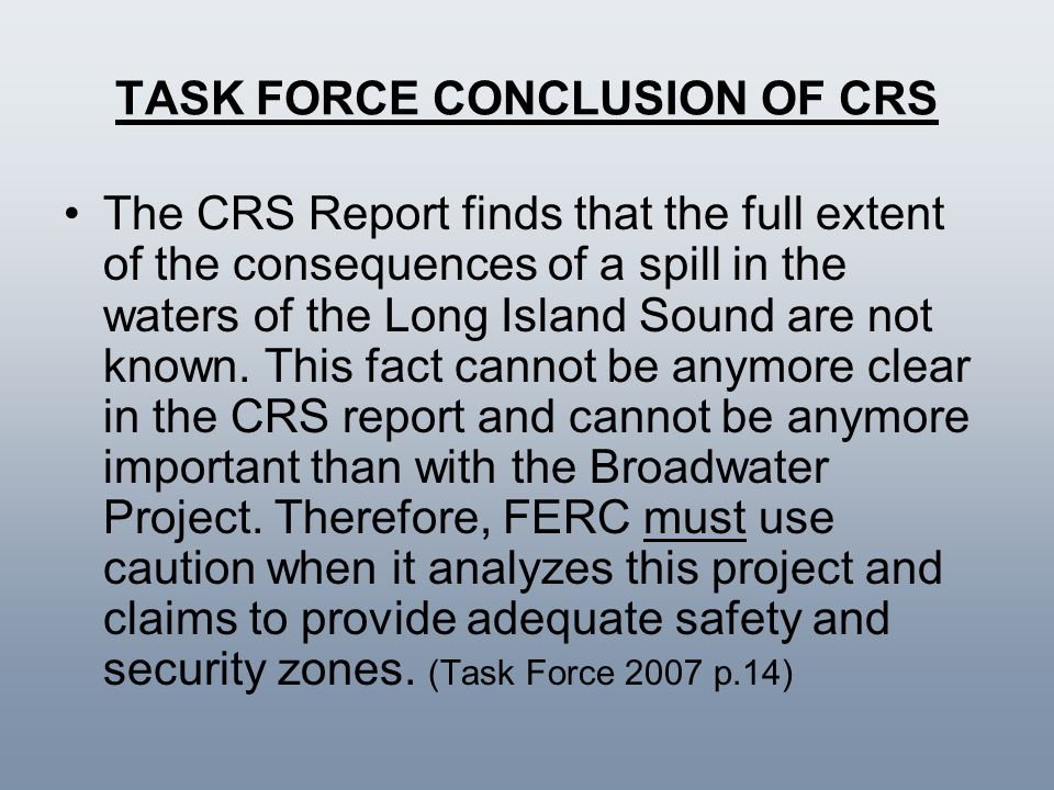 TASK FORCE CONCLUSION OF CRS