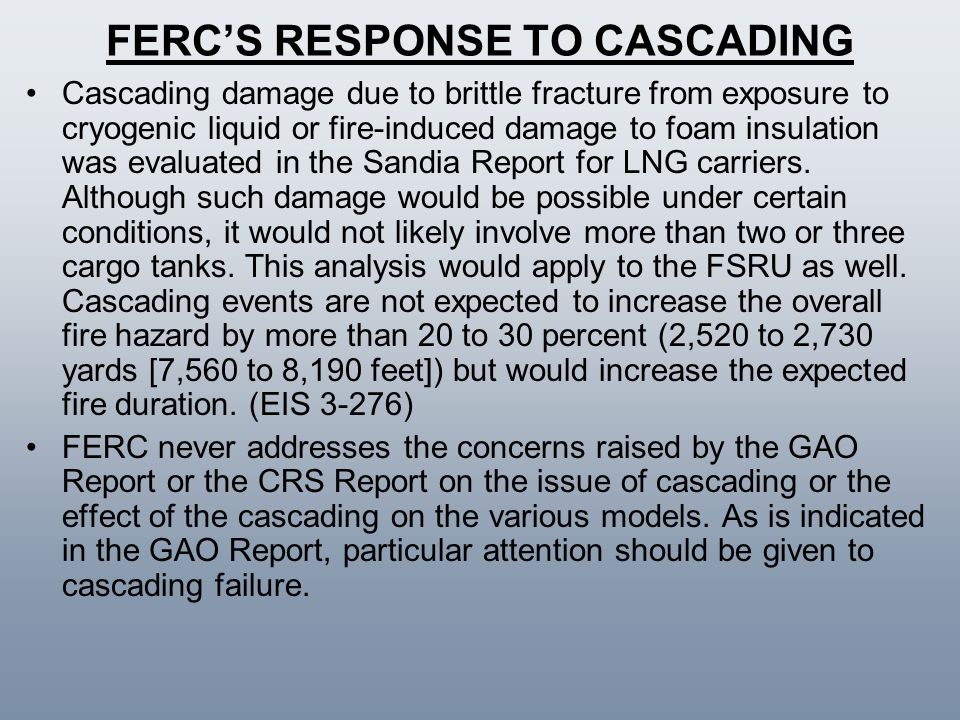 FERC'S RESPONSE TO CASCADING