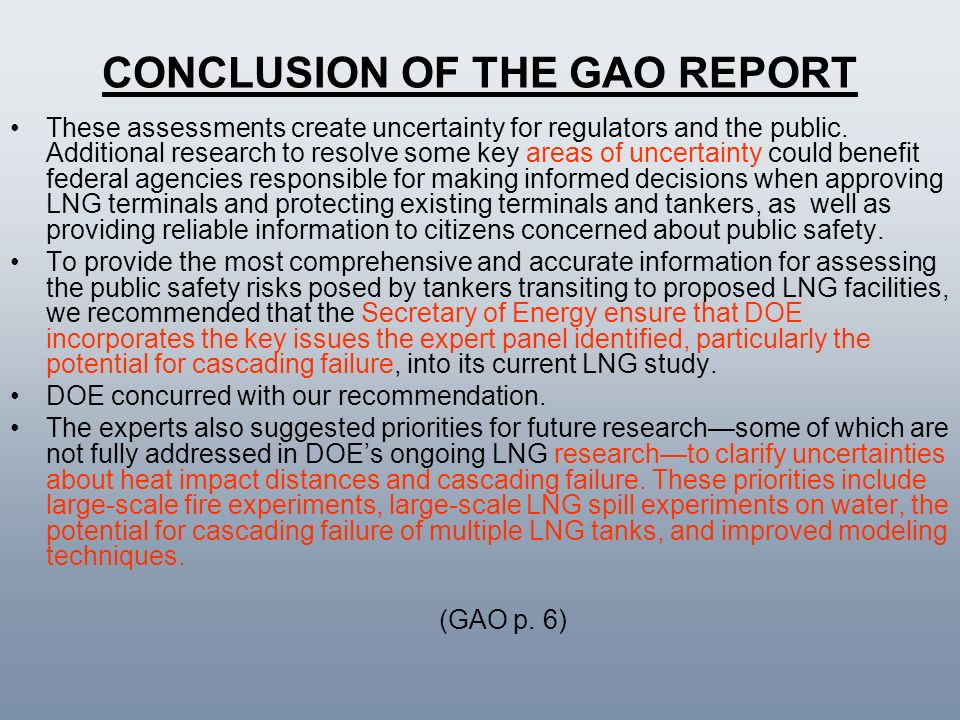 CONCLUSION OF THE GAO REPORT