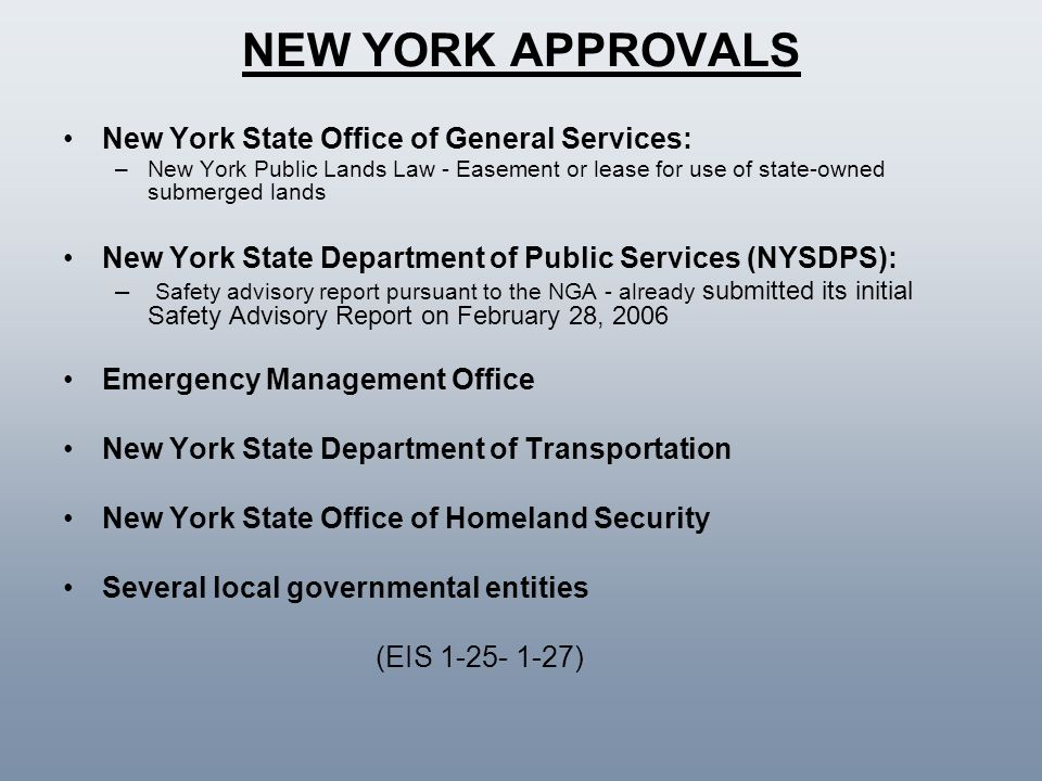 NEW YORK APPROVALS New York State Office of General Services: