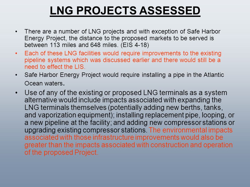 LNG PROJECTS ASSESSED