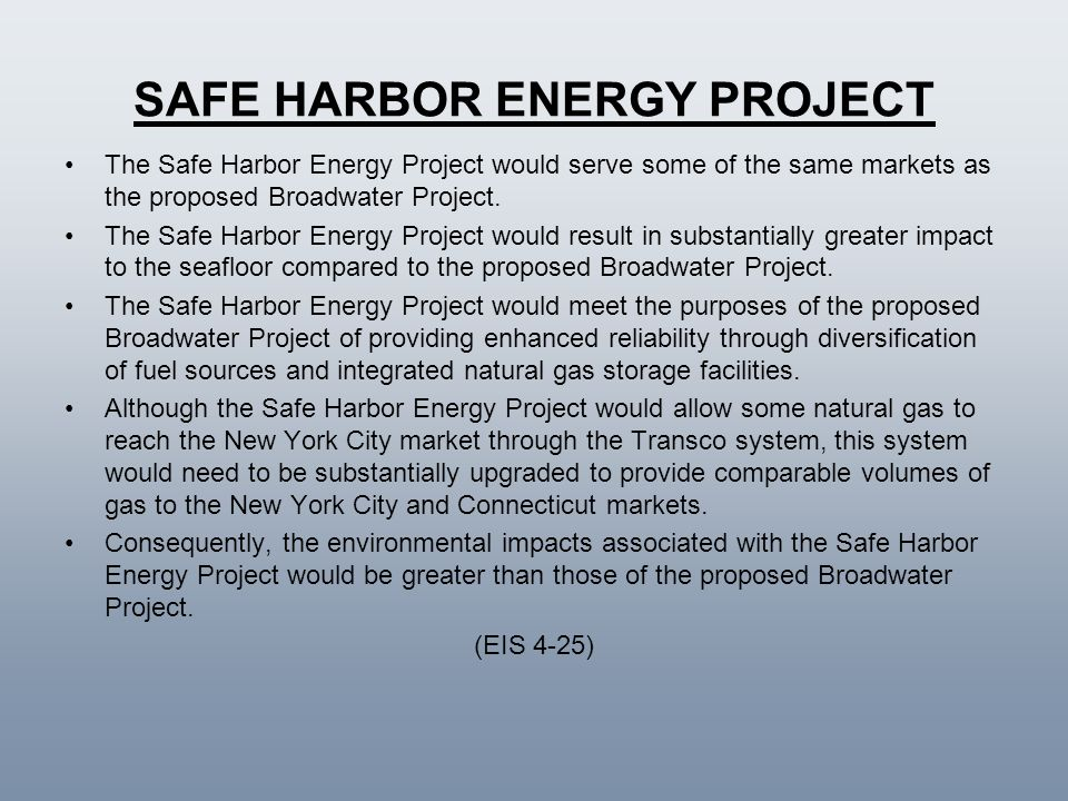 SAFE HARBOR ENERGY PROJECT