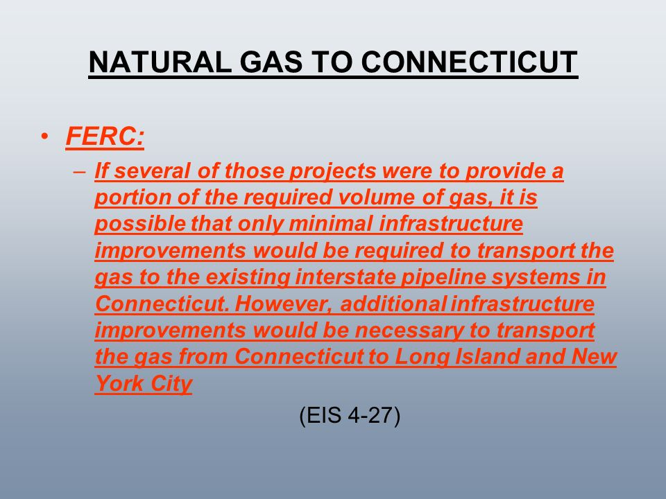 NATURAL GAS TO CONNECTICUT