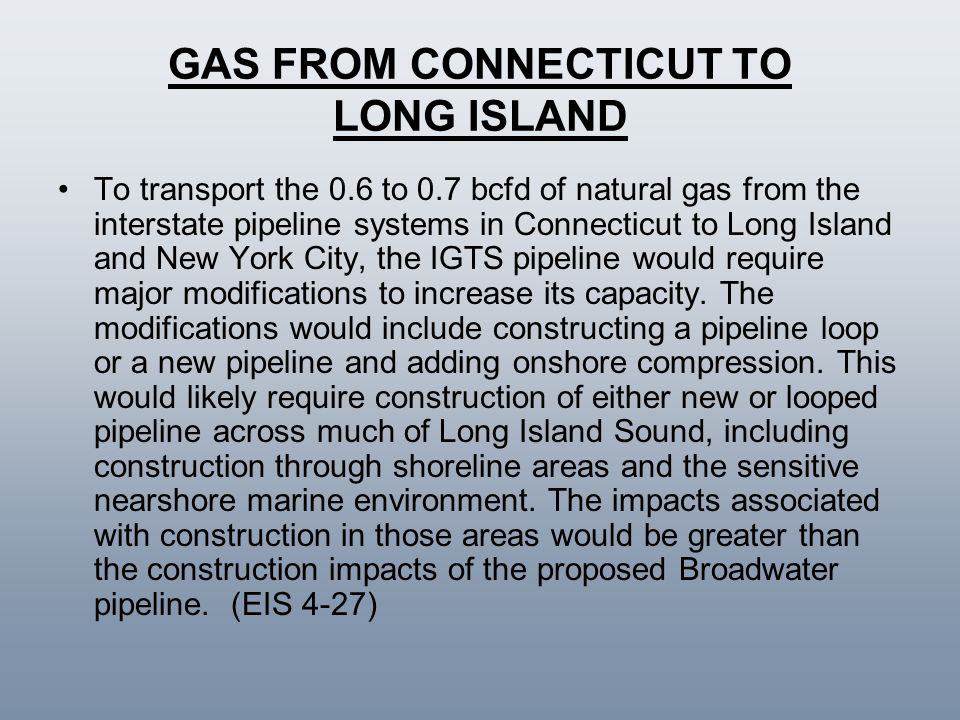 GAS FROM CONNECTICUT TO LONG ISLAND
