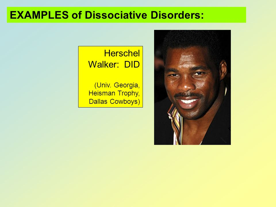 EXAMPLES of Dissociative Disorders: