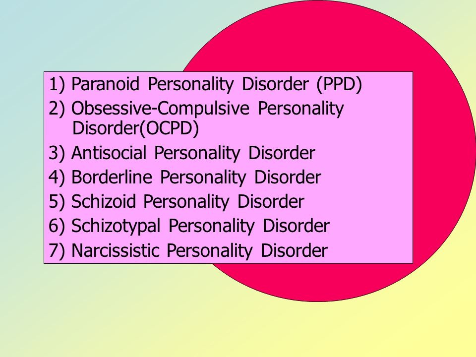 1) Paranoid Personality Disorder (PPD)