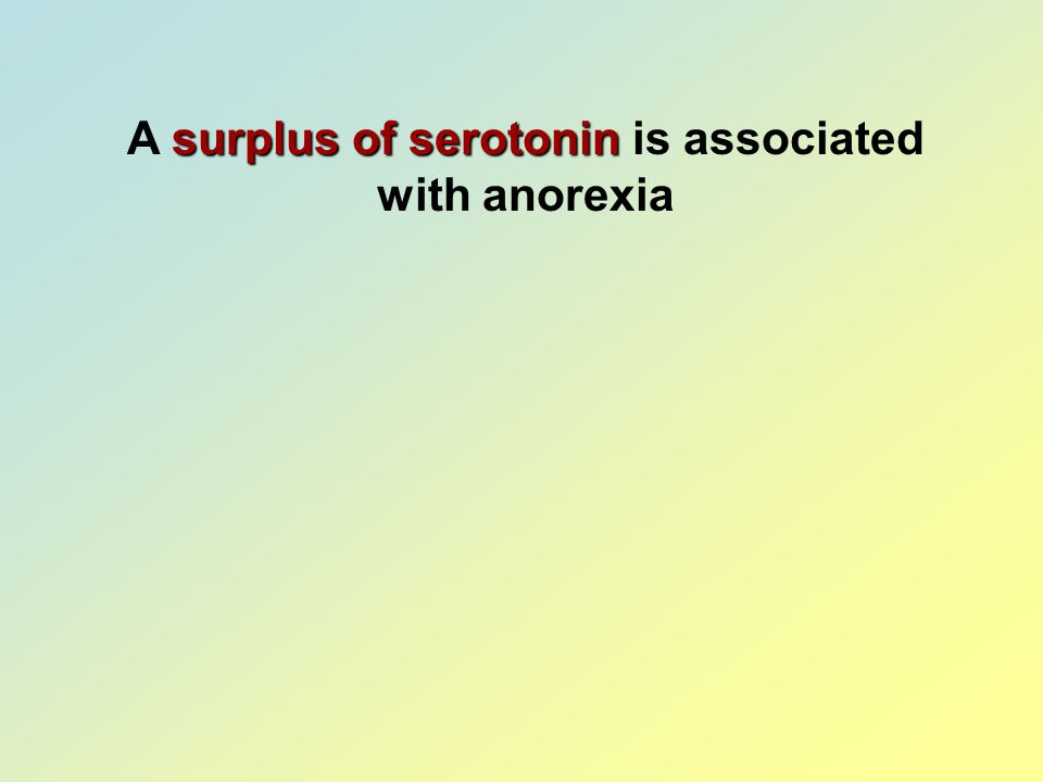 A surplus of serotonin is associated with anorexia