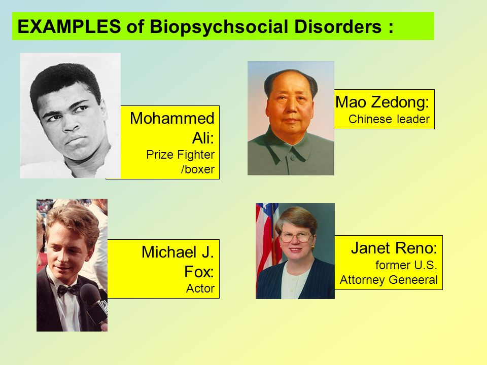 EXAMPLES of Biopsychsocial Disorders :
