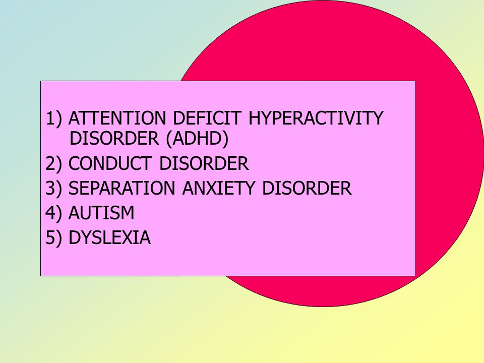 1) ATTENTION DEFICIT HYPERACTIVITY DISORDER (ADHD)