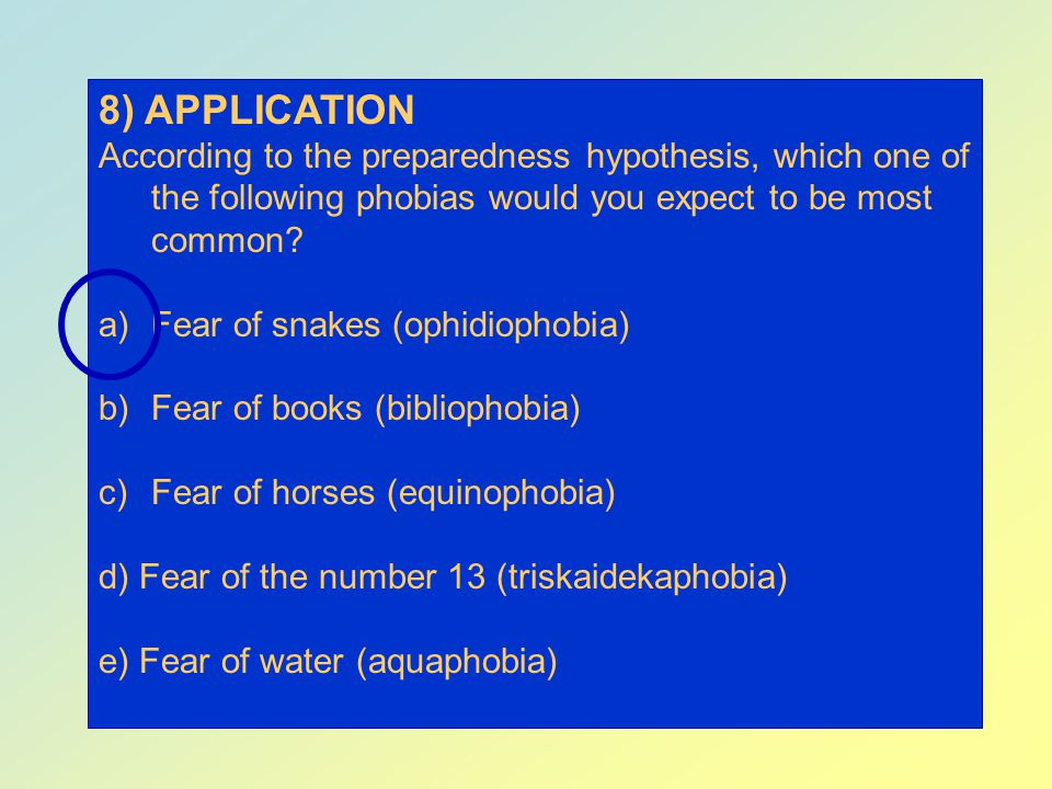 8) APPLICATION According to the preparedness hypothesis, which one of the following phobias would you expect to be most common