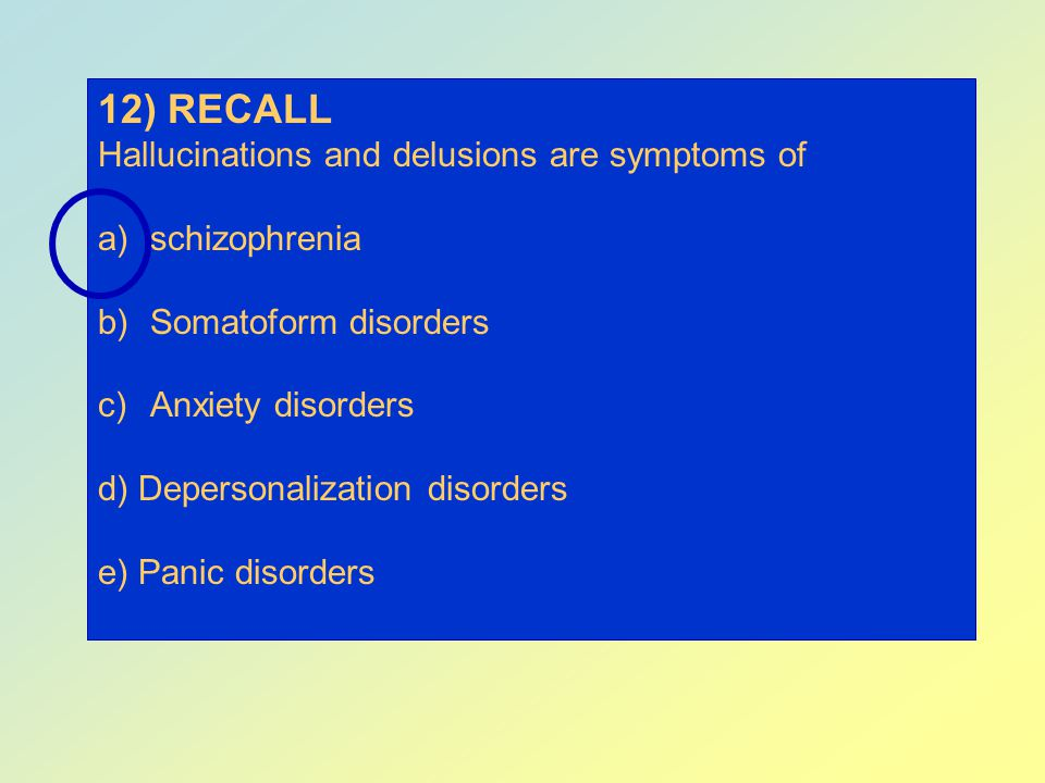 12) RECALL Hallucinations and delusions are symptoms of schizophrenia