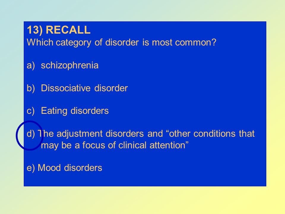 13) RECALL Which category of disorder is most common schizophrenia