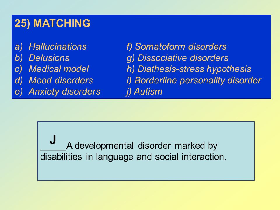 J 25) MATCHING Hallucinations f) Somatoform disorders