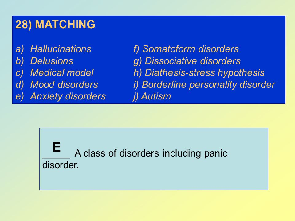 E 28) MATCHING Hallucinations f) Somatoform disorders
