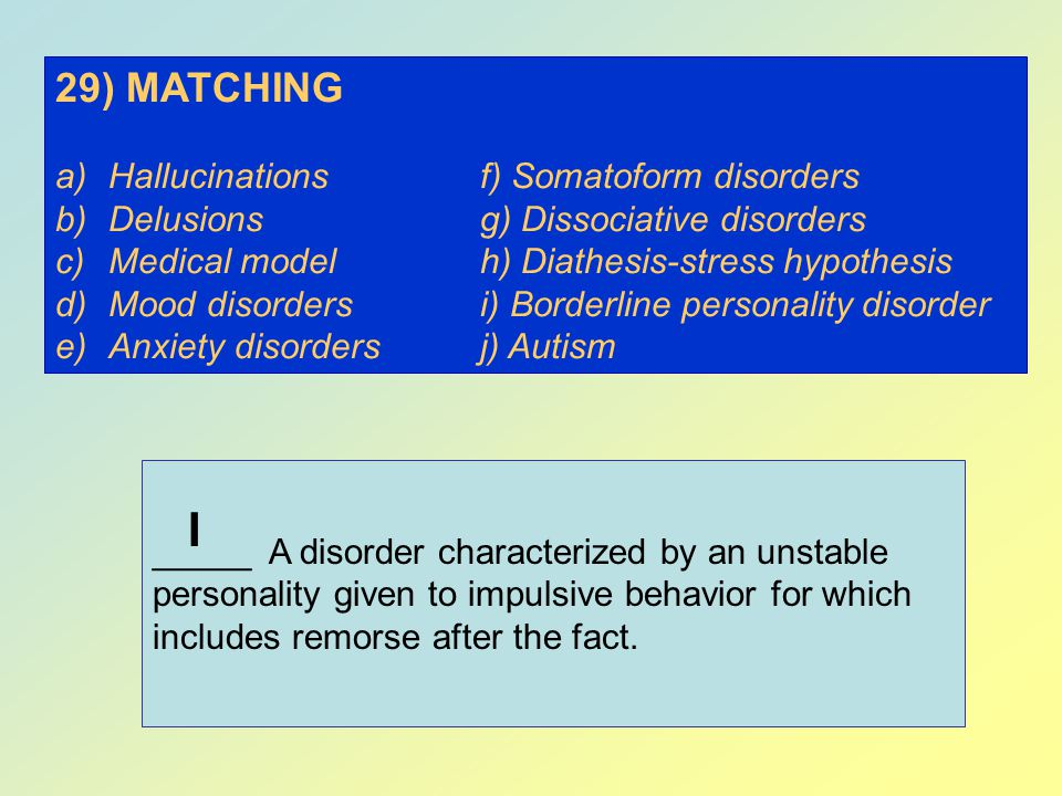 I 29) MATCHING Hallucinations f) Somatoform disorders