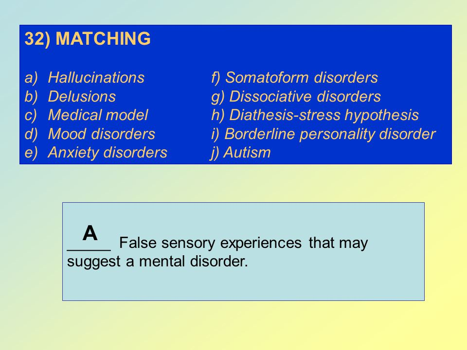 A 32) MATCHING Hallucinations f) Somatoform disorders