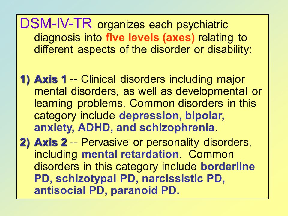 DSM-IV-TR organizes each psychiatric diagnosis into five levels (axes) relating to different aspects of the disorder or disability: