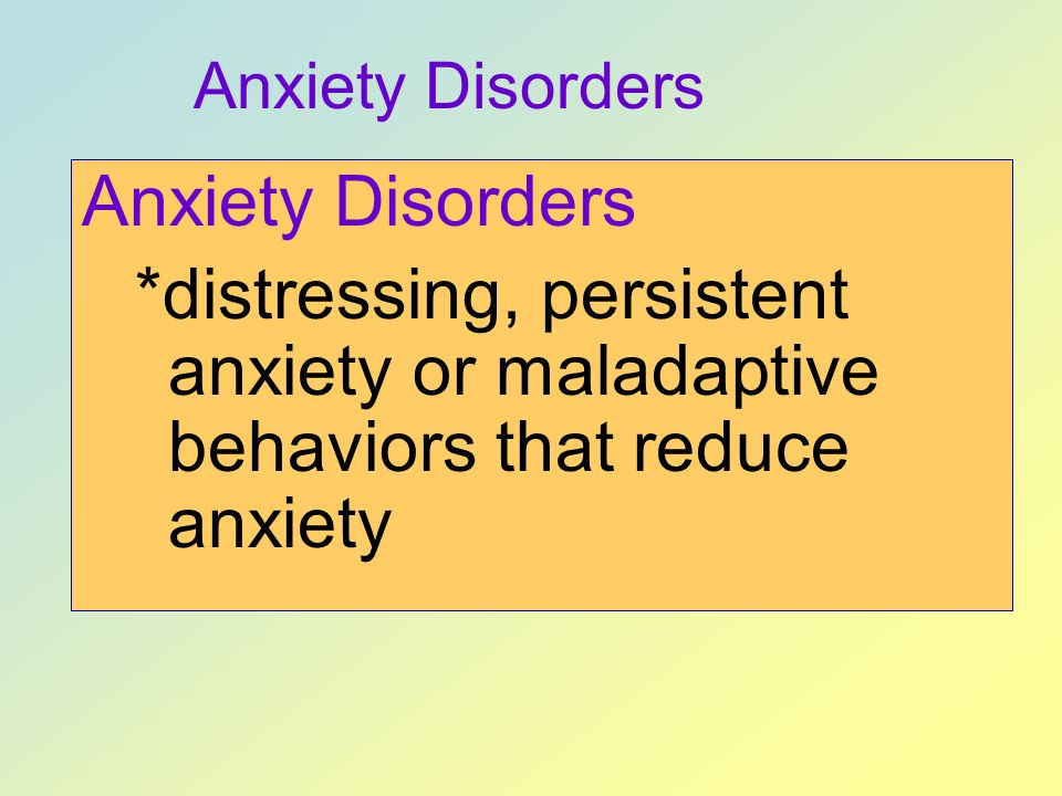 Anxiety Disorders Anxiety Disorders.