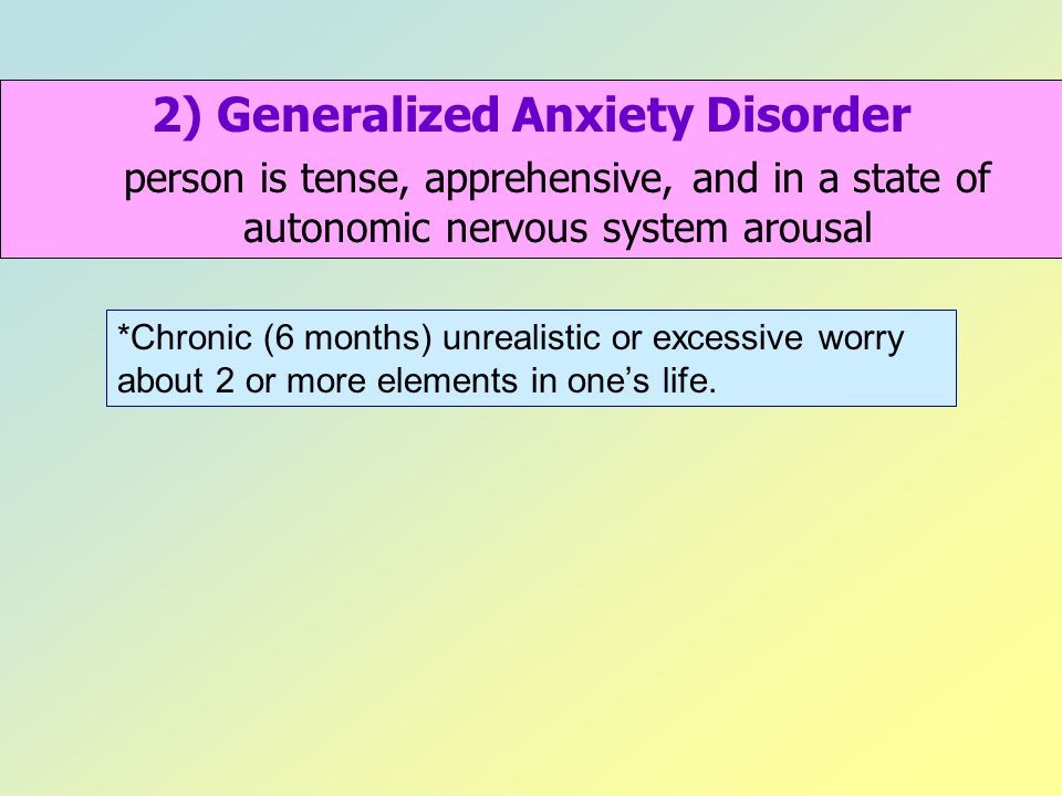 2) Generalized Anxiety Disorder