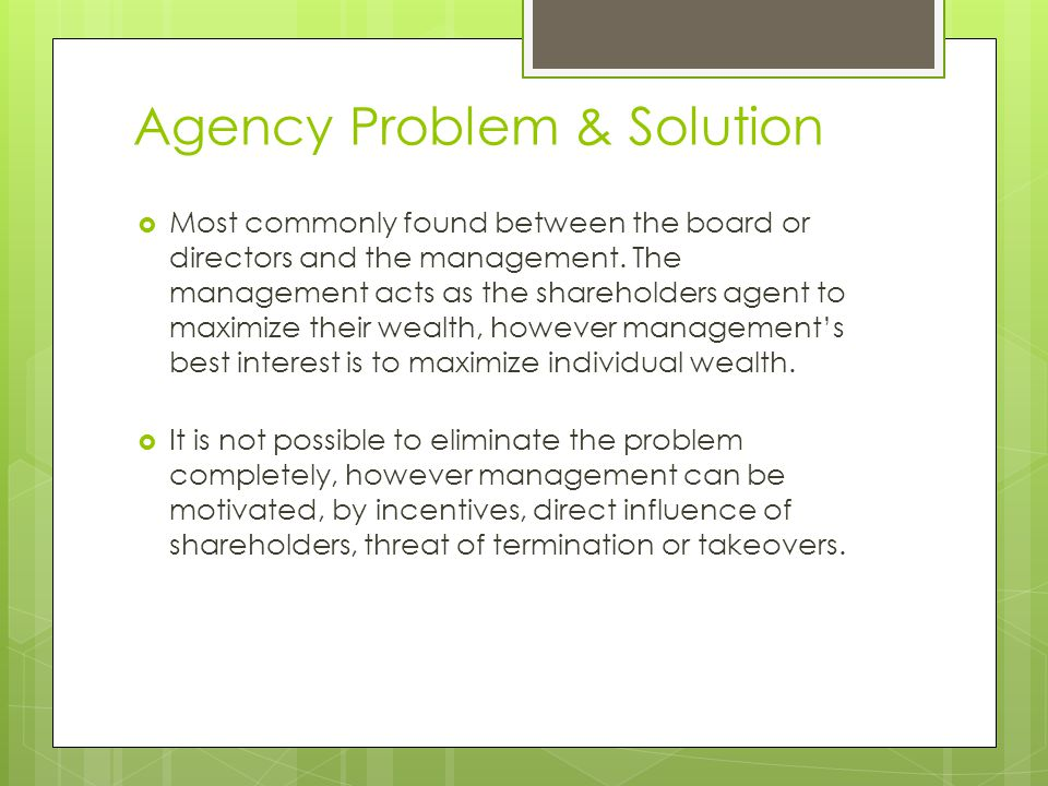 agency problem in financial management pdf