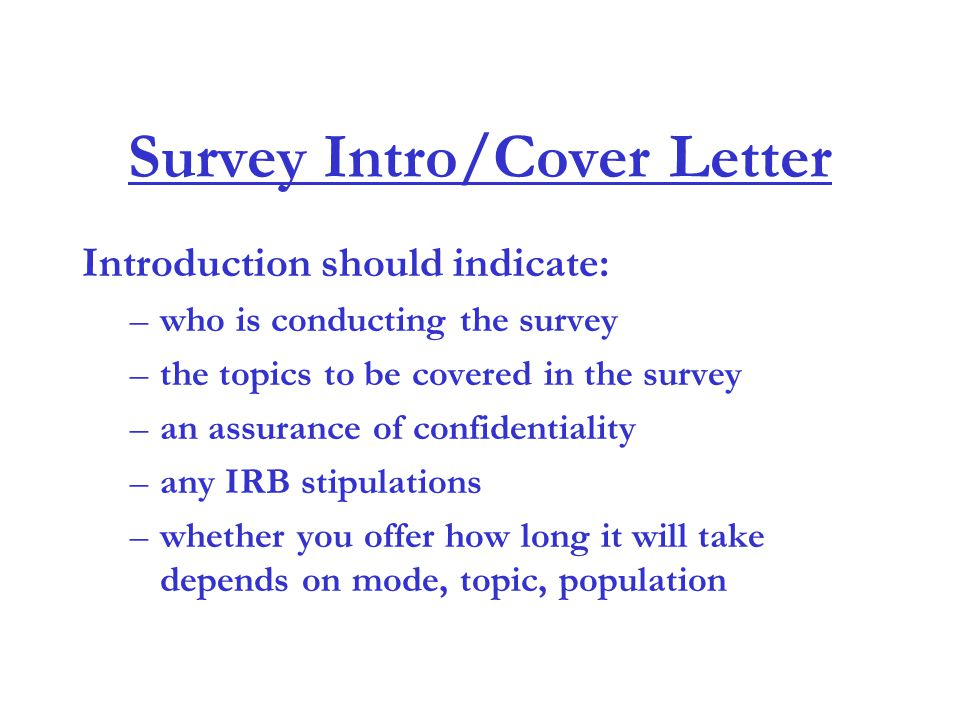 Survey Intro/Cover Letter  Survey Cover Letter