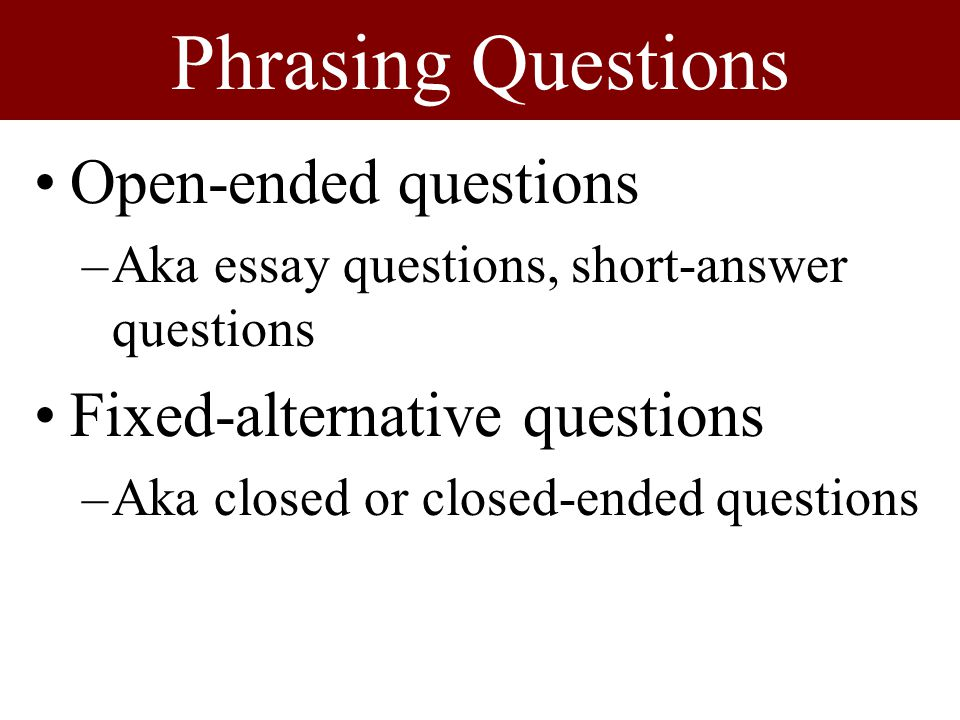 open ended essay prompts Keep in mind how open-ended this prompt truly is the belief or idea you explore could be your own, someone else's, or that of a group the best essays will be honest as they explore the difficulty of working against the status quo or a firmly held belief the answer to the final question about the outcome of your challenge.