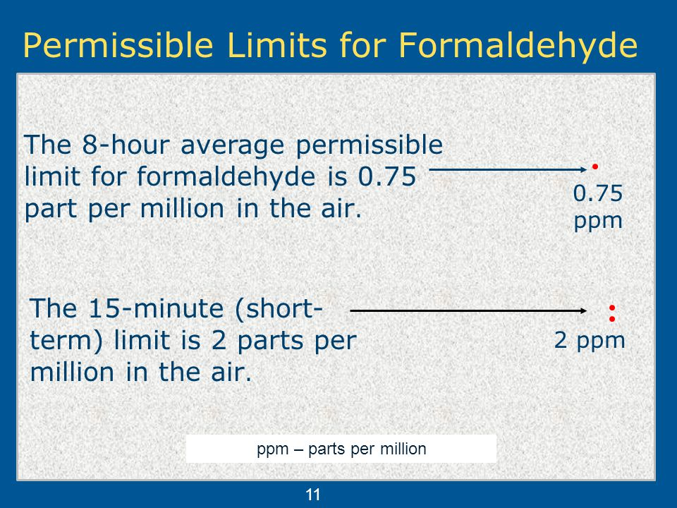 Permissible Limits for Formaldehyde