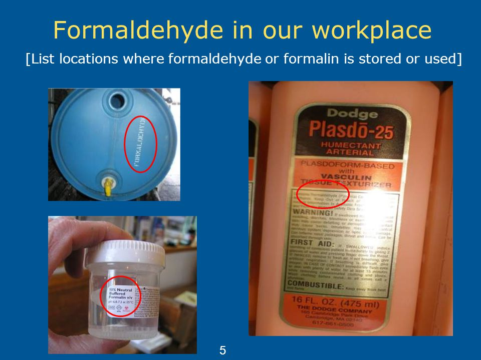 Formaldehyde in our workplace