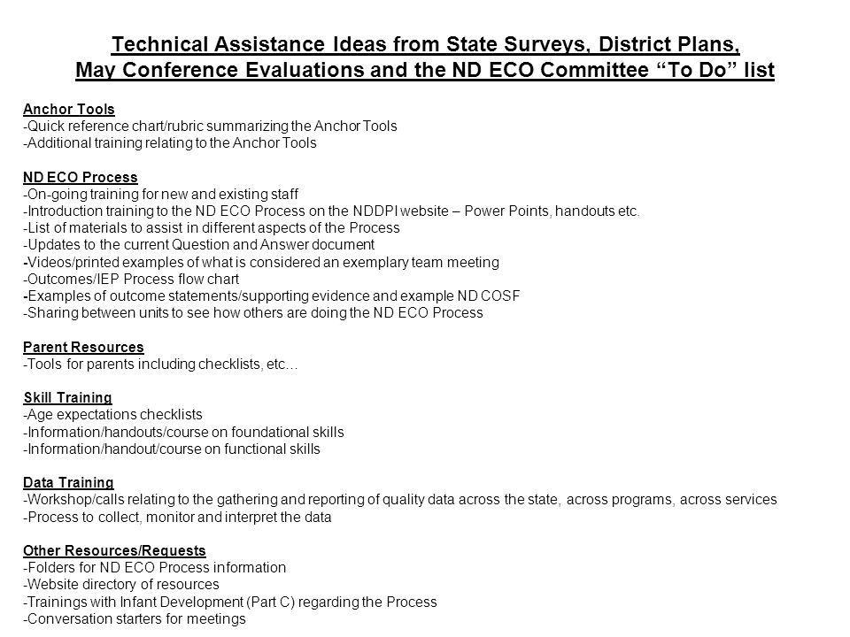 Technical Assistance Ideas from State Surveys, District Plans, May Conference Evaluations and the ND