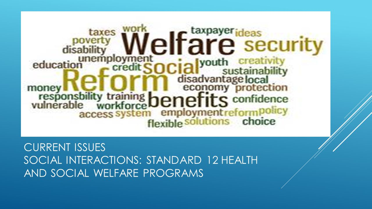 Current Issues Social Interactions: standard 12 health and social welfare programs