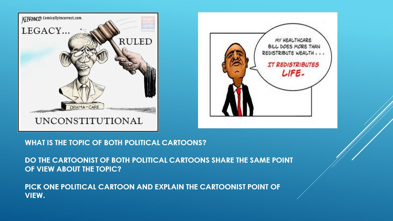What is the topic of both political cartoons