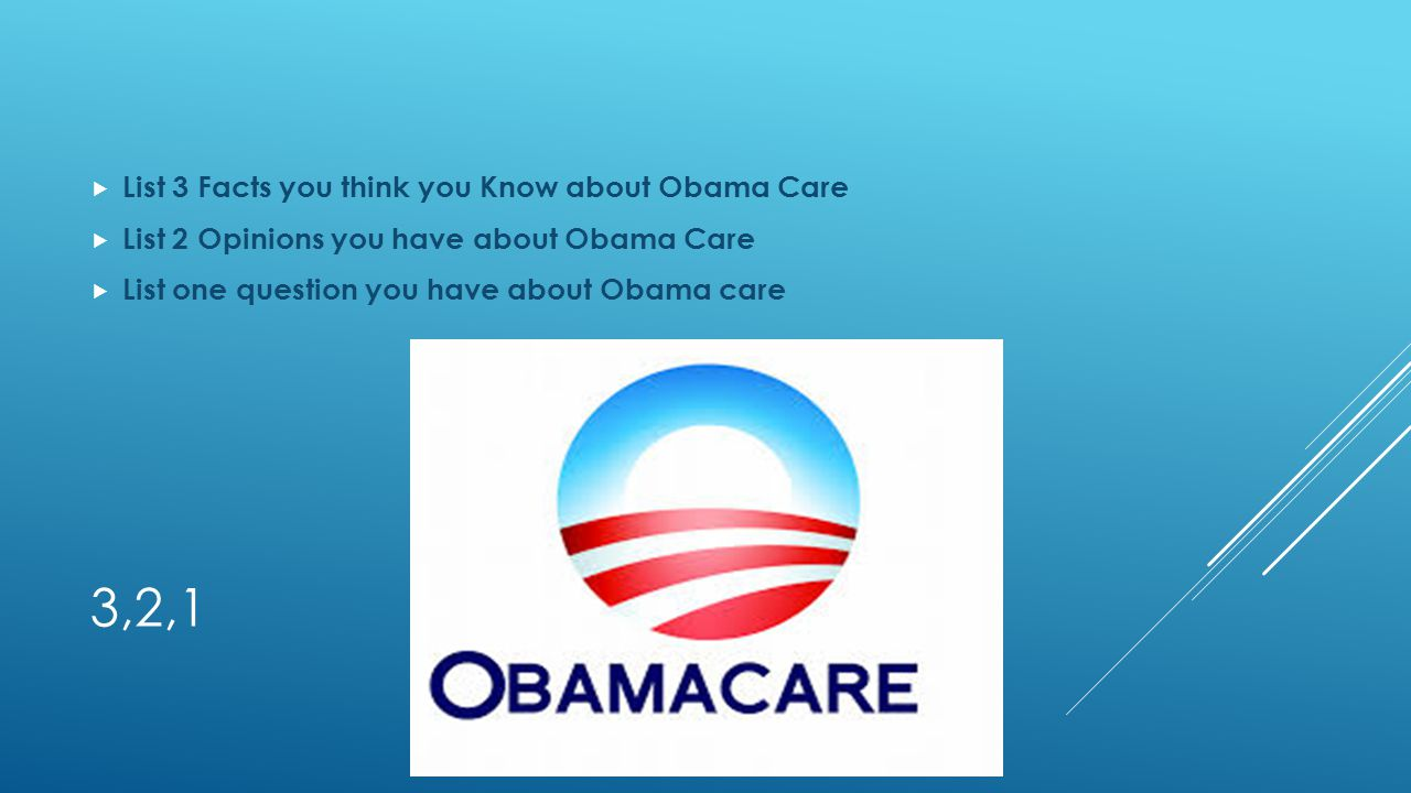 3,2,1 List 3 Facts you think you Know about Obama Care