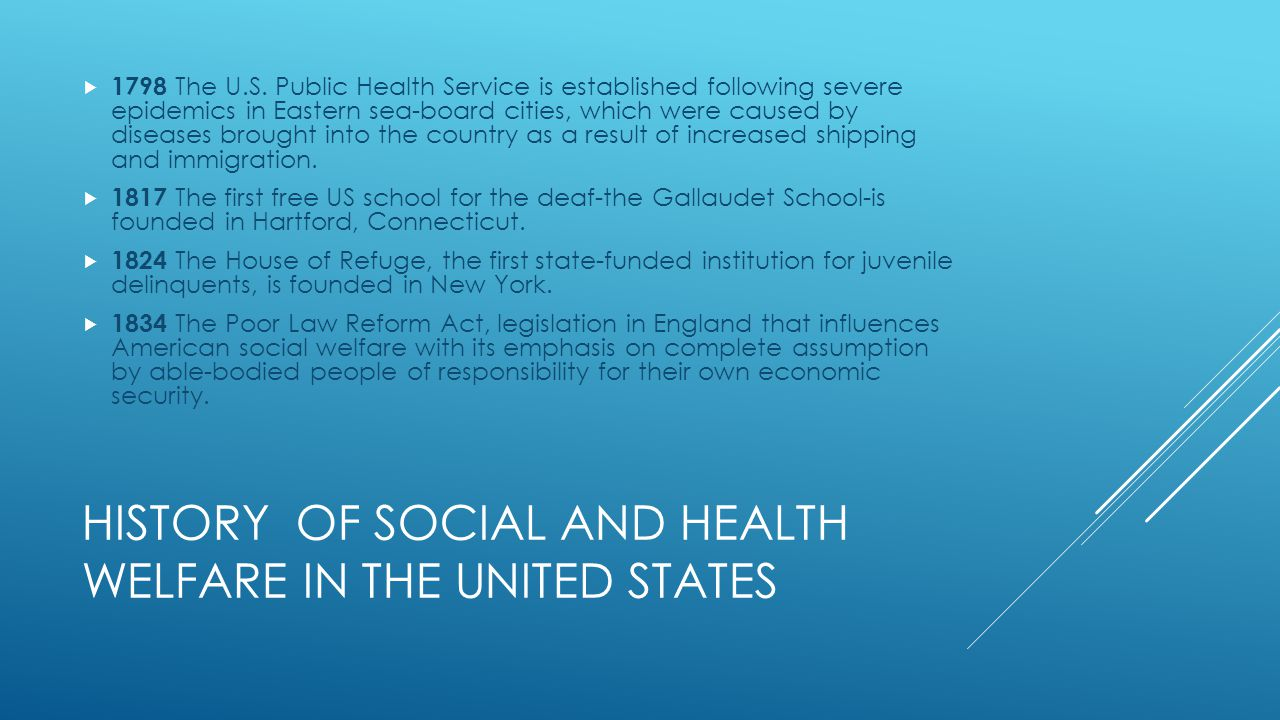 History of social and Health welfare in the United States