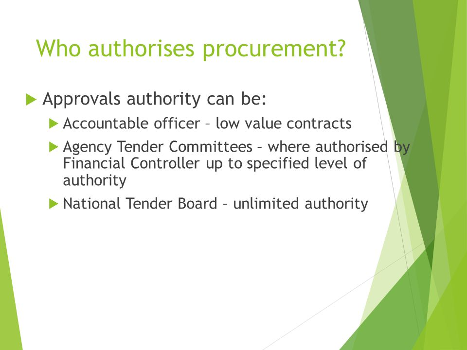 Who authorises procurement