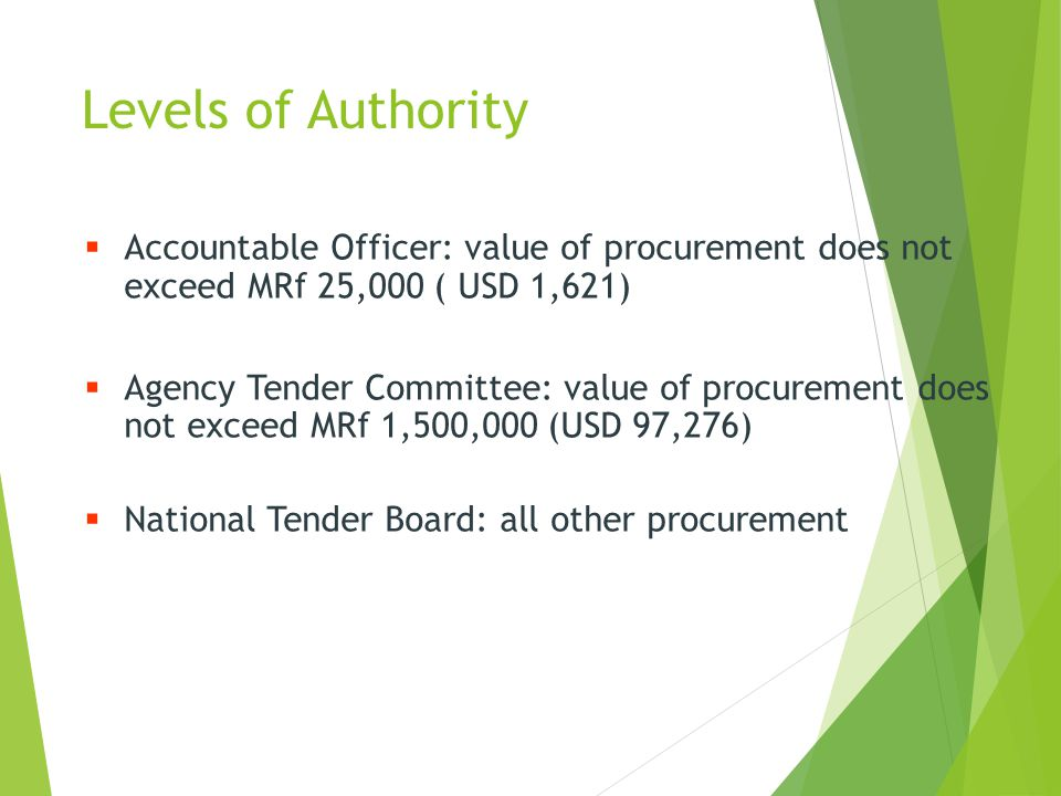 Levels of Authority Accountable Officer: value of procurement does not exceed MRf 25,000 ( USD 1,621)